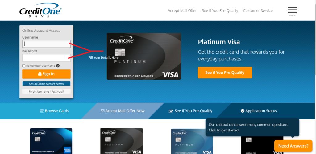 Credit One Bank Login Steps